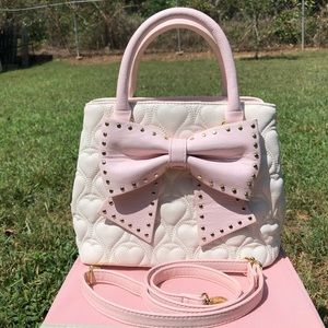 Betsey Johnson Quilted Hearts Satchel w/ Bow, Rare